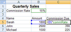 Microsoft Office Tip - Naming Cells in Excel quarterlySales